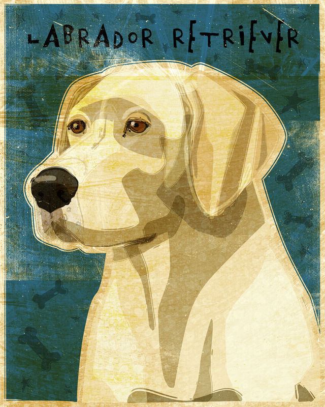 Yellow Labrador Print - No. 2 - 8 in x 10 in - Whimsical Dog Art ...