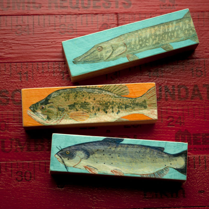 Small Art Fish Prints - Fish Sticks - Stick Fish Art Block Set of 3 Gifts for Fishermen - Gifts for Dad - Fishing Art - Freshwater Fish Art - The Golden ...