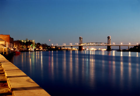 Cape,Fear,at,Night,Cape Fear river, downtown Wilmington, NC, Memorial bridge