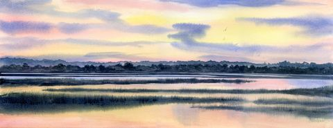 Shell,Island,Sunset,coastal beach decor, sunset marsh painting, reflections in the marsh