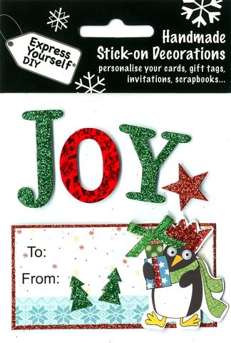 Penguin,&,Joy,Lettering,With,Tag,Craft, Christmas, Toppers, Penguin, Letters, Present, Star, Tag
