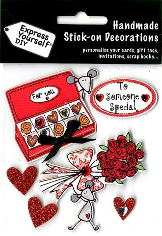 Love,Mice,Craft, Love, Mice, Hearts, Chocolate box, Bunch Of Flowers, Topper