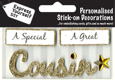 Make,It,Personal,(Caption,Topper),-,Cousin,(Gold),Craft, DIY, MIP, Make It Personal, Card Making, Personalised, Caption Toppers, Family Relation, Cousin,Gold, Words, Stick On Decoration