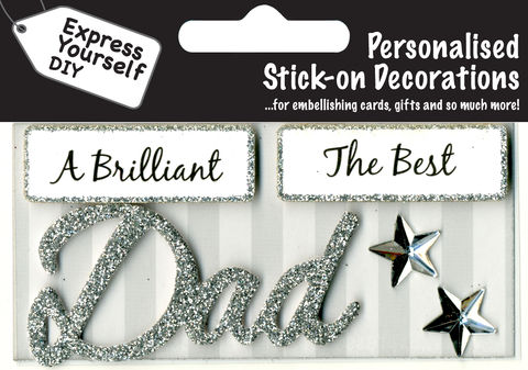 Make,It,Personal,(Caption,Topper),-,Dad,(Silver),Craft, DIY, MIP, Make It Personal, Card Making, Personalised, Caption Toppers, Male Family Relation, Dad, Silver, Words, Stick On Decoration
