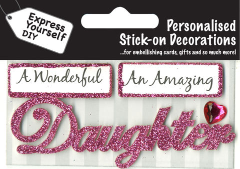 Make,It,Personal,(Caption,Topper),-,Daughter,(Pink),Craft, DIY, MIP, Make It Personal, Card Making, Personalised, Caption Toppers, Female Family Relation, Daughter, Pink, Words, Stick On Decoration