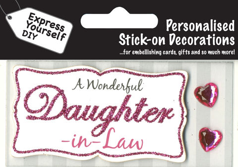 Make,It,Personal,(Caption,Topper),-,Daughter-In-Law,(Pink),Craft, DIY, MIP, Make It Personal, Card Making, Personalised, Caption Toppers, Female Family Relation, Daughter In Law, Pink, Words, Stick On Decoration