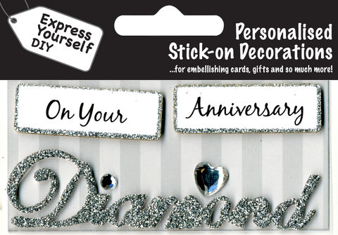 Make,It,Personal,(Caption,Topper),-,Diamond,Anniversary,(Silver),Craft, DIY, MIP, Make It Personal, Card Making, Personalised, Caption Toppers, Occasion, Diamond, Anniversary, silver, Words, Stick On Decoration
