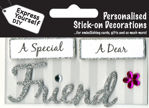 Make,It,Personal,(Caption,Topper),-,Friend,(Silver),Craft, DIY, MIP, Make It Personal, Card Making, Personalised, Caption Toppers, Friend, Silver, Words, Stick On Decoration