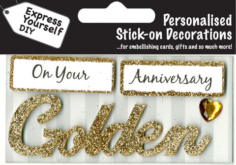 Make,It,Personal,(Caption,Topper),-,Golden,Anniversary,(Gold),Craft, DIY, MIP, Make It Personal, Card Making, Personalised, Caption Toppers, Occasion, Golden, Anniversary, Gold, Words, Stick On Decoration