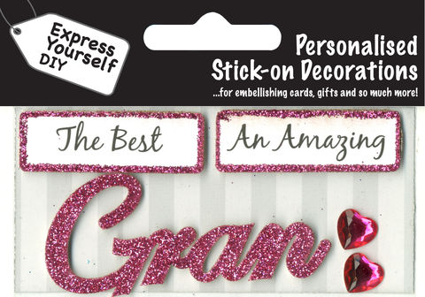 Make,It,Personal,(Caption,Topper),-,Gran,(Pink),Craft, DIY, MIP, Make It Personal, Card Making, Personalised, Caption Toppers, Female Family Relation, Gran, Pink, Words, Stick On Decoration