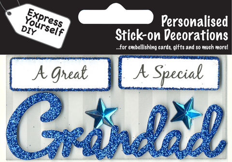 Make,It,Personal,(Caption,Topper),-,Grandad,(Blue),Craft, DIY, MIP, Make It Personal, Card Making, Personalised, Caption Toppers, Male Family Relation, Grandad, Blue, Words, Stick On Decoration