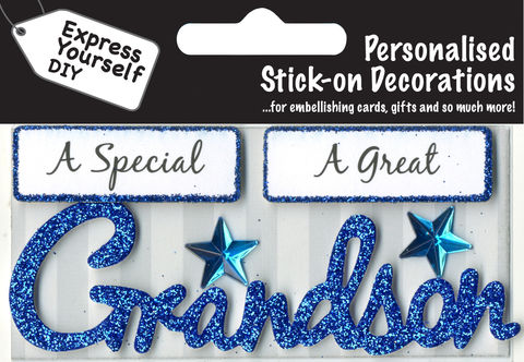 Make,It,Personal,(Caption,Topper),-,Grandson,(Blue),Craft, DIY, MIP, Make It Personal, Card Making, Personalised, Caption Toppers, Male Family Relation, Grandson, Blue, Words, Stick On Decoration