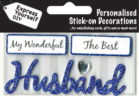 Make,It,Personal,(Caption,Topper),-,Husband,(Blue),Craft, DIY, MIP, Make It Personal, Card Making, Personalised, Caption Toppers, Male Family Relation, Husband, Blue, Words, Stick On Decoration