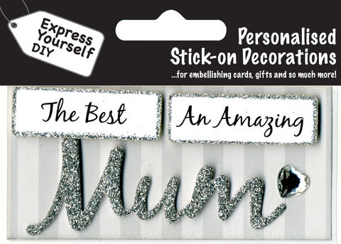 Make,It,Personal,(Caption,Topper),-,Mum,(Silver),Craft, DIY, MIP, Make It Personal, Card Making, Personalised, Caption Toppers, Female Family Relation, Mum, Silver, Words, Stick On Decoration