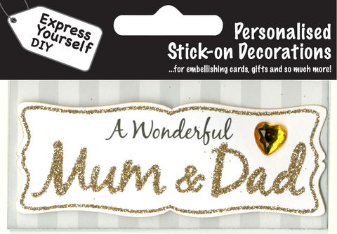 Make,It,Personal,(Caption,Topper),-,Mum,&,Dad,(Gold),Craft, DIY, MIP, Make It Personal, Card Making, Personalised, Caption Toppers, Family Relation, Parents, Mum & Dad, Gold, Words, Stick On Decoration