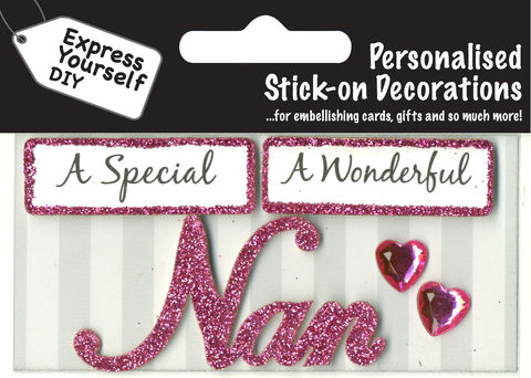 Make,It,Personal,(Caption,Topper),-,Nan,(Pink),Craft, DIY, MIP, Make It Personal, Card Making, Personalised, Caption Toppers, Female Family Relation, Nan, Pink, Words, Stick On Decoration