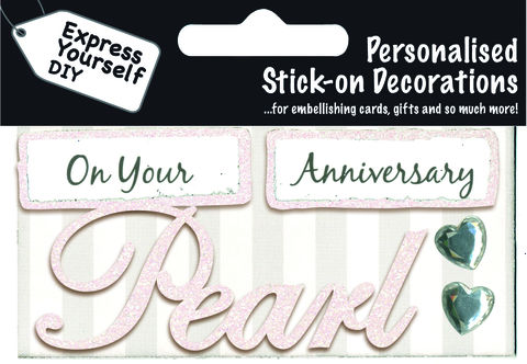 Make,It,Personal,(Caption,Topper),-,Pearl,Anniversary,(Iridescent),Craft, DIY, MIP, Make It Personal, Card Making, Personalised, Caption Toppers, Occasion, Pearl, Anniversary, Iridescent, Words, Stick On Decoration