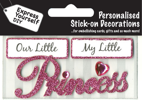 Make,It,Personal,(Caption,Topper),-,Princess,(Pink),Craft, DIY, MIP, Make It Personal, Card Making, Personalised, Caption Toppers, Female, Princess, Pink, Words, Stick On Decoration