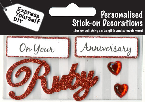 Make,It,Personal,(Caption,Topper),-,Ruby,Anniversary,(Red),Craft, DIY, MIP, Make It Personal, Card Making, Personalised, Caption Toppers, Occasion, Ruby, Anniversary, Red, Words, Stick On Decoration