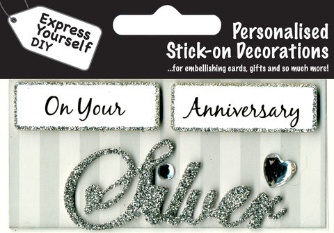 Make,It,Personal,(Caption,Topper),-,Silver,Anniversary,(Silver),Craft, DIY, MIP, Make It Personal, Card Making, Personalised, Caption Toppers, Occasion, Silver, Anniversary, Words, Stick On Decoration