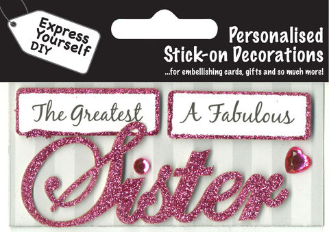 Make,It,Personal,(Caption,Topper),-,Sister,(Pink),Craft, DIY, MIP, Make It Personal, Card Making, Personalised, Caption Toppers, Female Family Relation, Sister, Pink, Words, Stick On Decoration