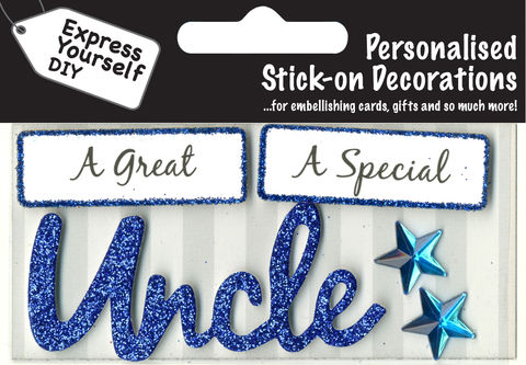 Make,It,Personal,(Caption,Topper),-,Uncle,(Blue),Craft, DIY, MIP, Make It Personal, Card Making, Personalised, Caption Toppers, Male Family Relation, Uncle, Blue, Words, Stick On Decoration