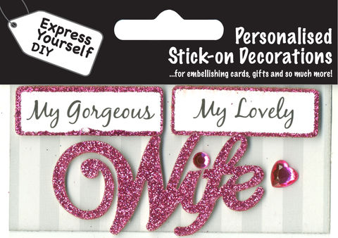 Make,It,Personal,(Caption,Topper),-,Wife,(Pink),Craft, DIY, MIP, Make It Personal, Card Making, Personalised, Caption Toppers, Female Family Relation, Wife, Pink, Words, Stick On Decoration