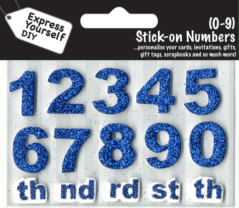 Make,It,Personal,(Numbers),-,0,9,(Blue),Craft, DIY, MIP, Make It Personal, Card Making, Personalised, Number Toppers, Blue, Stick On Decoration