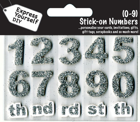 Make,It,Personal,(Numbers),-,0,9,(Silver),Craft, DIY, MIP, Make It Personal, Card Making, Personalised, Number Toppers, Silver, Stick On Decoration