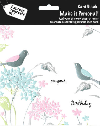 Make,It,Personal,(Blank,Card),-,Pastel,Birds,&,Flowers,(On,Your,Birthday),Craft, DIY, MIP, Make It Personal, Personalised, Birds, Flowers, White, Blue, Pink, On Your Birthday, Stick On Decoration, Blank Card