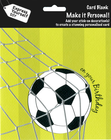 Make,It,Personal,(Blank,Card),-,Football,(On,Your,Birthday),Craft, DIY, MIP, Make It Personal, Personalised, Football, Goal Net, Green, On Your Birthday, Stick On Decoration, Blank Card