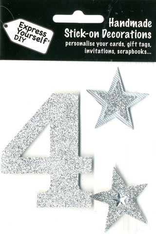 Large,Silver,Glitter,Number,4,Craft, Toppers, Large Numbers, Silver, Glitter
