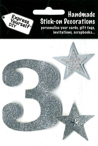 Large,Silver,Glitter,Number,3,Craft, Toppers, Large Numbers, Silver, Glitter