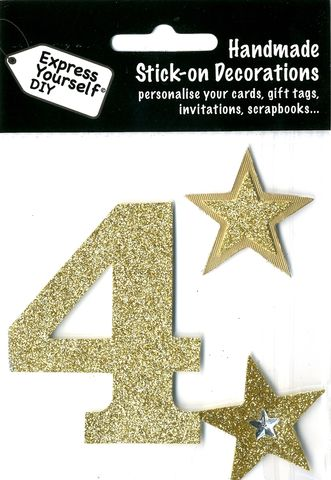 Large,Gold,Glitter,Number,4,Craft, Toppers, Large Numbers, Gold, Glitter