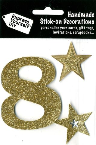 Large,Gold,Glitter,Number,8,Craft, Toppers, Large Numbers, Gold, Glitter