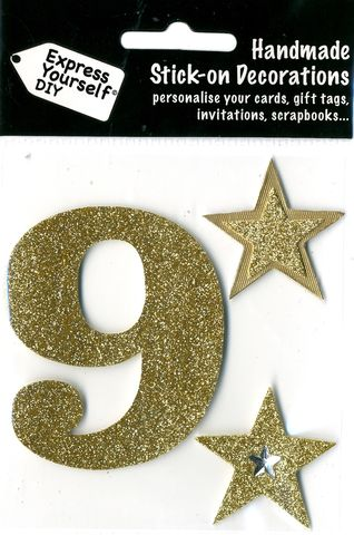Large,Gold,Glitter,Number,9,Craft, Toppers, Large Numbers, Gold, Glitter