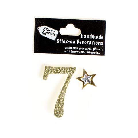 Handmade,stick,on,numbers,-,Mini,Gold,Number,7,stick-on numbers, craft, handmade, glitter, gold glitter
