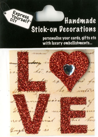 Handmade,(Mini),stick,on,Parts,-,Love,Lettering,stick-on captions, craft, handmade, glitter, Heart, Love