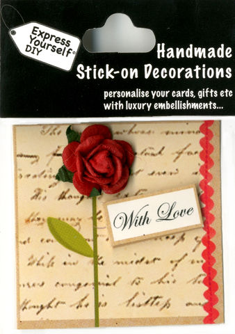 Handmade,(Mini),stick,on,Parts,-,Rose,With,Love,Tag,stick-on captions, craft, handmade, glitter, Heart, Love