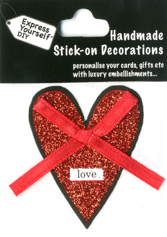 Handmade,(Mini),stick,on,Parts,-,Heart,With,Ribbon,stick-on captions, craft, handmade, glitter, Heart, Love