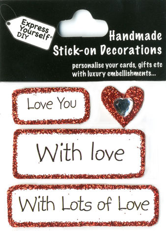 Handmade,(Mini),stick,on,Captions,-,Heart,With,Caption,Tags,stick-on captions, craft, handmade, glitter, Heart, Love, Tags
