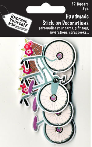 Mini,Multi,Pack,Toppers,-,Bicycle,Craft, DIY, MIP, Make It Personal, Card Making, Personalised, Mini Multipack Toppers, Stick On Decoration, Scrapbooks, 3 pack, 3D, Bicycle