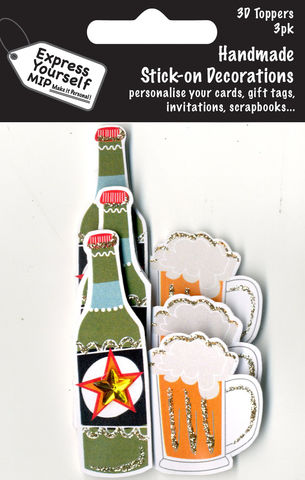 Mini,Multi,Pack,Toppers,-,Beer,Bottle,&,Glass,Craft, DIY, MIP, Make It Personal, Card Making, Personalised, Mini Multipack Toppers, Stick On Decoration, Scrapbooks, 3 pack, 3D, Beer Bottle & Glass