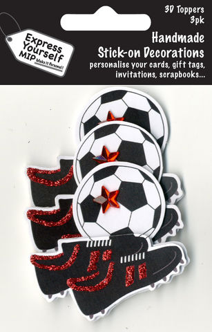 Mini,Multi,Pack,Toppers,-,Football,&,Boots,Craft, DIY, MIP, Make It Personal, Card Making, Personalised, Mini Multipack Toppers, Stick On Decoration, Scrapbooks, 3 pack, 3D, Football & Boots, Sport