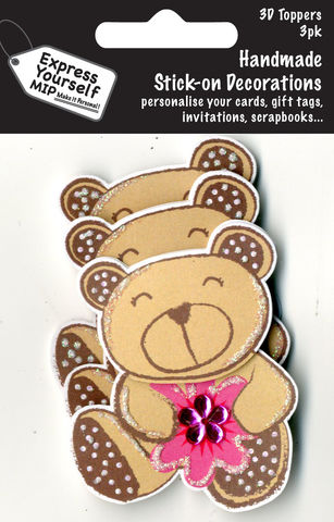 Mini,Multi,Pack,Toppers,-,Brown,Bear,Craft, DIY, MIP, Make It Personal, Card Making, Personalised, Mini Multipack Toppers, Stick On Decoration, Scrapbooks, 3 pack, 3D, Brown Bear