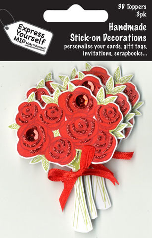 Mini,Multi,Pack,Toppers,-,Bunch,Of,Roses,Craft, DIY, MIP, Make It Personal, Card Making, Personalised, Mini Multipack Toppers, Stick On Decoration, Scrapbooks, 3 pack, 3D, Bunch Of Roses, Flowers