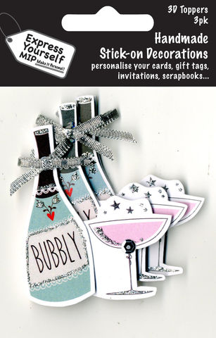 Mini,Multi,Pack,Toppers,-,Bubbly,Bottle,&,Glass,Craft, DIY, MIP, Make It Personal, Card Making, Personalised, Mini Multipack Toppers, Stick On Decoration, Scrapbooks, 3 pack, 3D, Bubbly Bottle & Glass