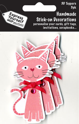 Mini,Multi,Pack,Toppers,-,Pink,Cat,Craft, DIY, MIP, Make It Personal, Card Making, Personalised, Mini Multipack Toppers, Stick On Decoration, Scrapbooks, 3 pack, 3D, Pink Cat, Animal