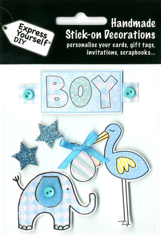 Boy,Tag,With,Blue,Stork,&,Elephant,Craft, Baby, Blue Stork, Elephant, Boy