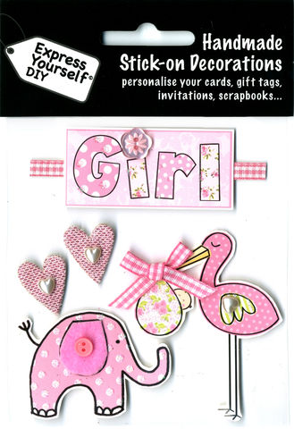 Girl,Tag,With,Pink,Stork,&,Elephant,Craft, Baby, Pink Stork, Elephant, Girl